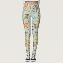 Cute Woodland Creatures Animal Pattern Leggings