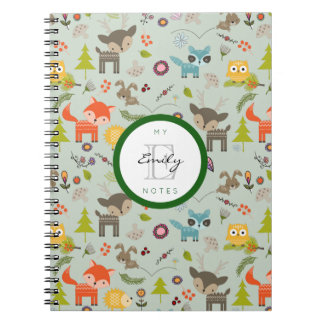 Cute Woodland Creatures Animal Pattern & Monogram Notebook