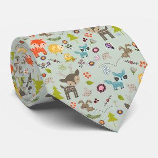 Cute Woodland Creatures Animal Pattern Neck Tie