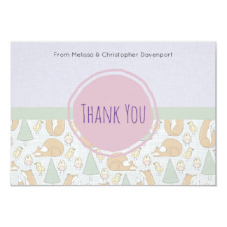 Cute Woodland Creatures baby Shower Thank You Card