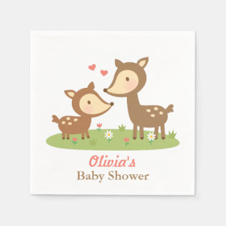 Cute Woodland Deer Baby Shower Party Supplies Napkin