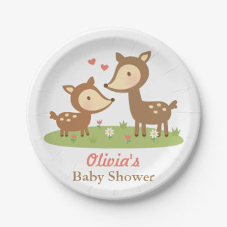 Cute Woodland Deer Baby Shower Party Supplies 7 Inch Paper Plate