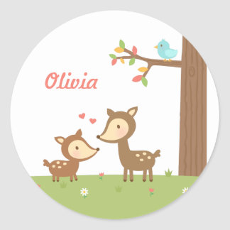 Cute Woodland Deer Mother and Child For Kids Classic Round Sticker