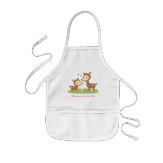 Cute Woodland Deer Mother and Child For Kids Kids' Apron
