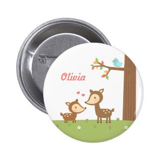 Cute Woodland Deer Mother and Child For Kids Pinback Button