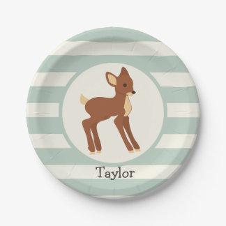 Cute Woodland Deer; Sage Green Stripes 7 Inch Paper Plate