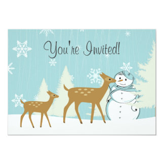Cute Woodland Deer with Snowman Winter Baby Shower 5x7 Paper Invitation Card