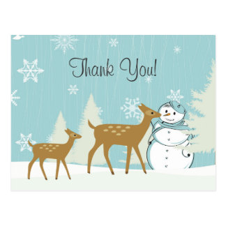 Cute Woodland Deer with Snowman Winter Thank You Postcard