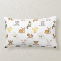 Cute Woodland Farm Baby Animals Nursery Lumbar Pillow