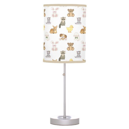 Cute Woodland Farm Baby Animals Nursery Table Lamp