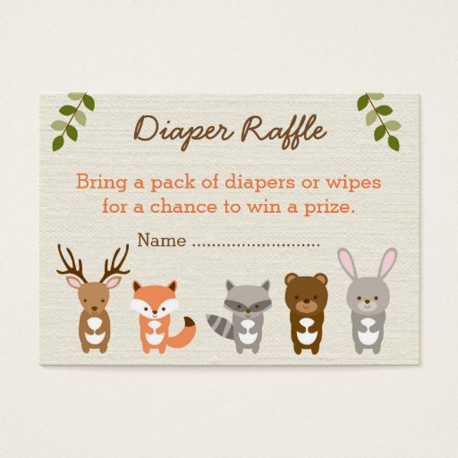 Cute Woodland Forest Animal Diaper Raffle Tickets