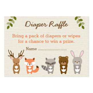 Cute Woodland Forest Animal Diaper Raffle Tickets Large Business Cards (Pack Of 100)
