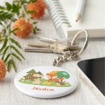 Cute Woodland Forest Animal For Kids Basic Round Button Keychain