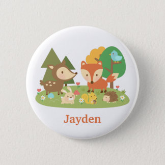 Cute Woodland Forest Animal For Kids Button