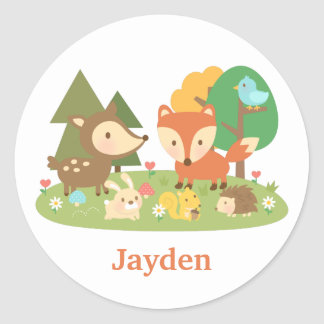 Cute Woodland Forest Animal For Kids Classic Round Sticker