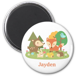 Cute Woodland Forest Animal For Kids 2 Inch Round Magnet