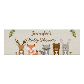 Cute Woodland Forest Animal Personalized Banner Poster