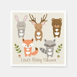 Cute Woodland Forest Animal Personalized Napkins at Zazzle