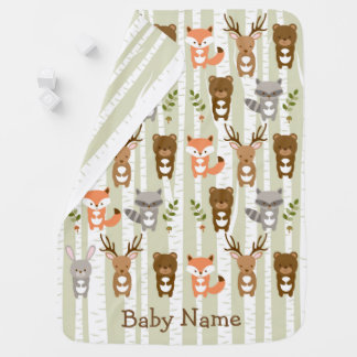 Cute Woodland Forest Animal Receiving Blanket