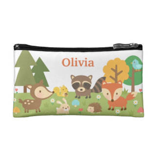 Cute Woodland Forest Animals and Creatures Makeup Bag