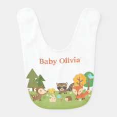 Cute Woodland Forest Animals For Babies Baby Bib