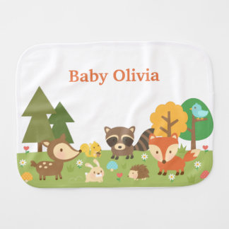 Cute Woodland Forest Animals For Babies Baby Burp Cloth