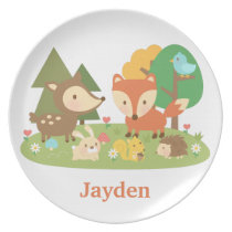 Cute Woodland Forest Animals For Kids Dinner Plate