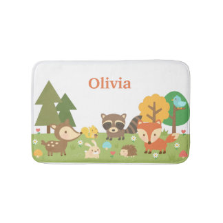 Cute Woodland Forest Animals Kids Room Decor Bathroom Mat