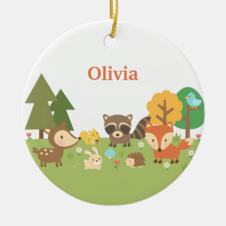 Cute Woodland Forest Animals Kids Room Decor Double-Sided Ceramic Round Christmas Ornament