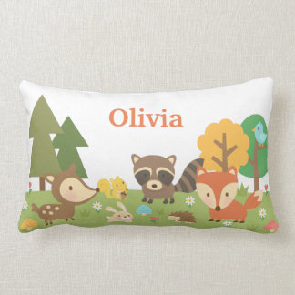 Cute Woodland Forest Animals Kids Room Decor Lumbar Pillow