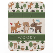 Cute Woodland Forest Animals Personalized Baby Blanket