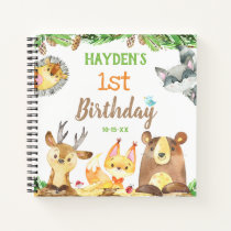 Cute Woodland Forest Animals Watercolor Guest Notebook