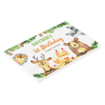 Cute Woodland Forest Creatures Watercolor Birthday Guest Book