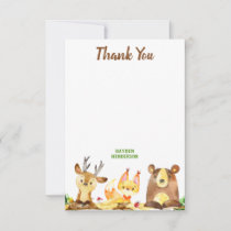 Cute Woodland Forest Creatures Watercolor Birthday Thank You Card