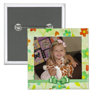 Cute Woodland Foresty Floral Photo Button