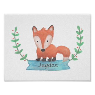 Cute Woodland Fox Baby Nursery Room Decor Poster