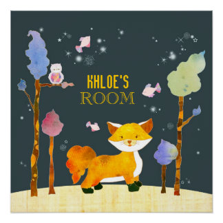 Cute Woodland Fox Customizable Kids' Room Posters