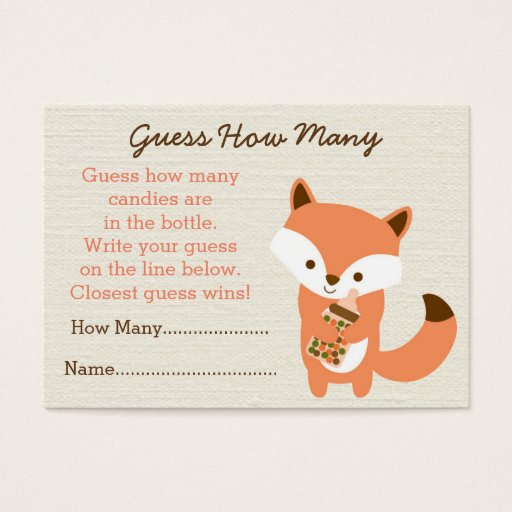 Cute Woodland Fox Guess How Many Cards