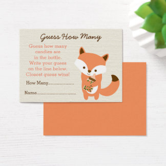 Cute Woodland Fox Guess How Many Game Business Card