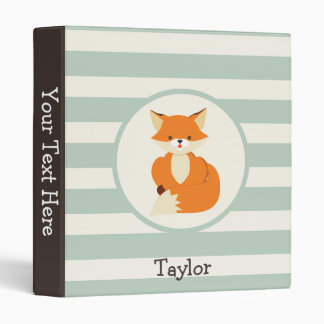 Cute Woodland Fox on Sage Green Stripes 3 Ring Binder
