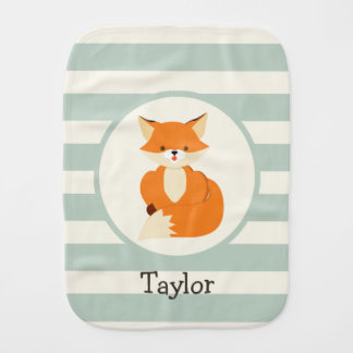 Cute Woodland Fox on Sage Green Stripes Burp Cloth