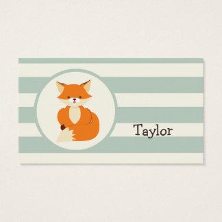 Cute Woodland Fox on Sage Green Stripes Business Card