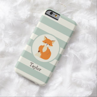 Cute Woodland Fox on Sage Green Stripes iPhone 6 Case