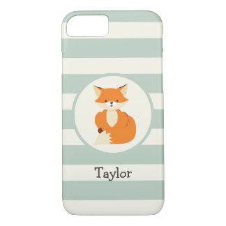 Cute Woodland Fox on Sage Green Stripes iPhone 8/7 Case