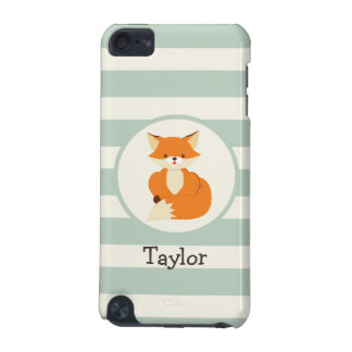 Cute Woodland Fox on Sage Green Stripes iPod Touch (5th Generation) Cover