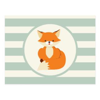 Cute Woodland Fox on Sage Green Stripes Postcard