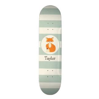 Cute Woodland Fox on Sage Green Stripes Skateboard