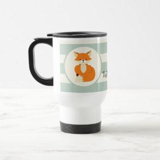 Cute Woodland Fox on Sage Green Stripes Travel Mug
