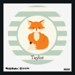 """Cute Woodland Fox on Sage Green Stripes Wall Sticker<br><div class=""""desc"""">Cool, retro, colorful kid&#39;s Cute Woodland Fox on Sage Green Stripes white stripes, striped pattern with vintage feel. Perfect gift for baby, toddler, kids, children, teens, or adults! Personalized the design by adding a child&#39;s name or custom text. Visit our store, Birthday Party House, for more great customizable boy and...</div>"""