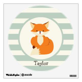 Cute Woodland Fox on Sage Green Stripes Wall Sticker
